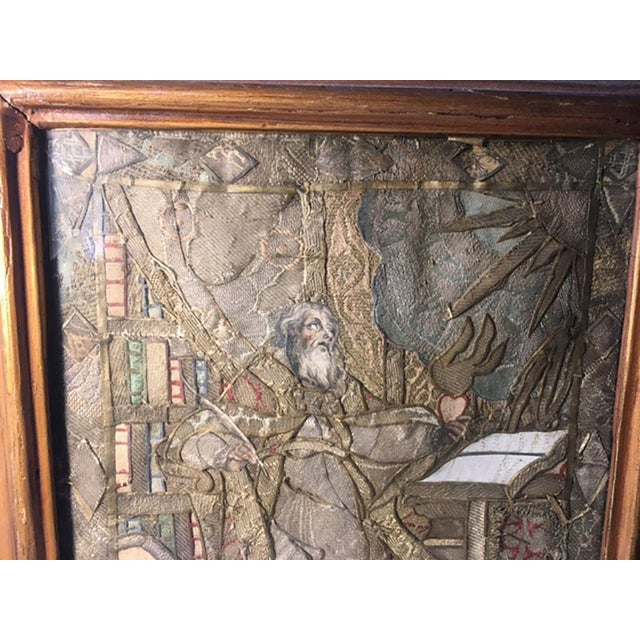Moses reading scriptures. A fabulous work of art. Tiny pieces of colored silk Sewn together to create this masterpiece. In...
