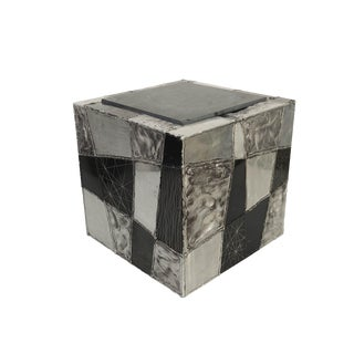1960s Brutalist Paul Evans Argente Cube Side Table For Sale