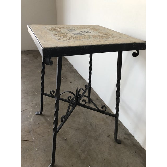 Mediterranean Tile Top Wrought Iron Side Table For Sale - Image 4 of 7