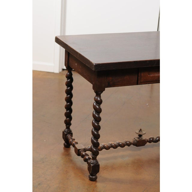 French Walnut Louis XIII Style Desk with Barley Twist Base from the 19th Century For Sale In Atlanta - Image 6 of 13