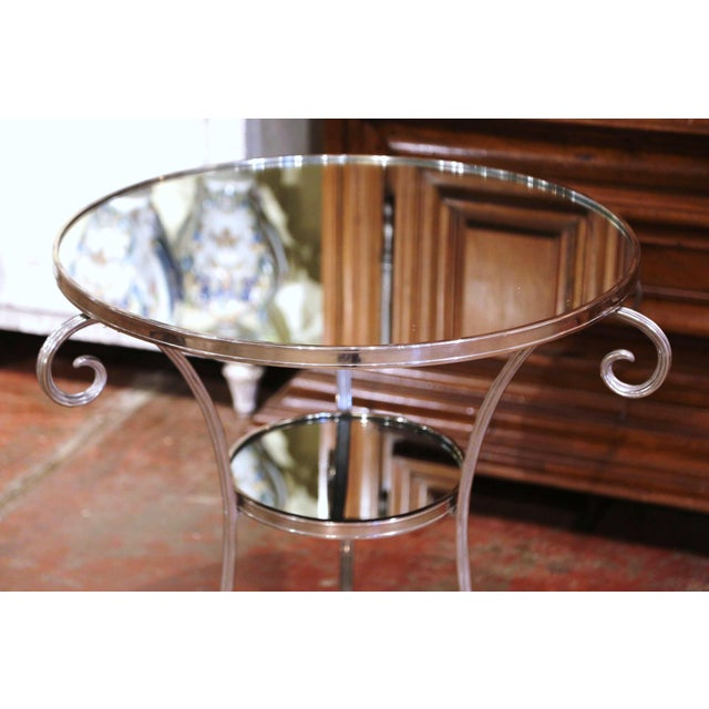 French Vintage French Directoire Silver Plated Metal and Mirrored Top Guéridon Table For Sale - Image 3 of 9