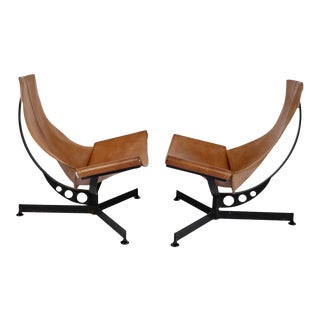 Max Gottschalk Saddle Leather & Iron Sling Chairs - a Pair For Sale