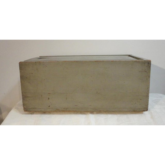 19th Century Original Grey Painted Large Candle Box from New England For Sale - Image 4 of 8