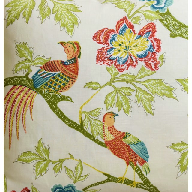 """Asian Schumacher Chinoiserie Linen & Mohair Bird Feather/Down Pillow 21"""" Square For Sale - Image 3 of 6"""