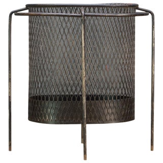 Maurice Duchin Floating Iron Mesh Wastebasket Trash Can Expanded Metal Modern For Sale