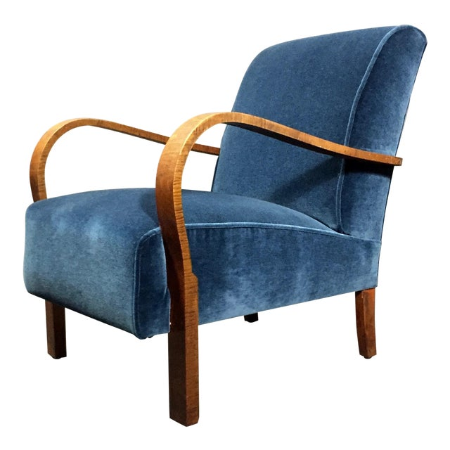 Late 1930s Danish Oak Armchair, New Mohair Upholstery For Sale