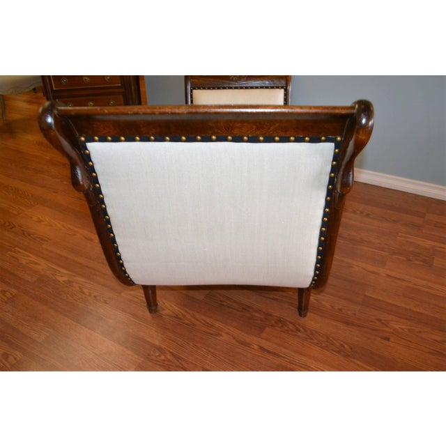 Empire Style Mahogany Chaise With Hand-Carved Swan Motif For Sale - Image 4 of 9