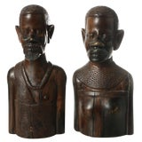 Image of 1930s African Carved Wood Busts of Male and Female - a Pair For Sale