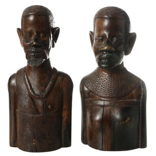 1930s African Carved Wood Busts of Male and Female - a Pair For Sale
