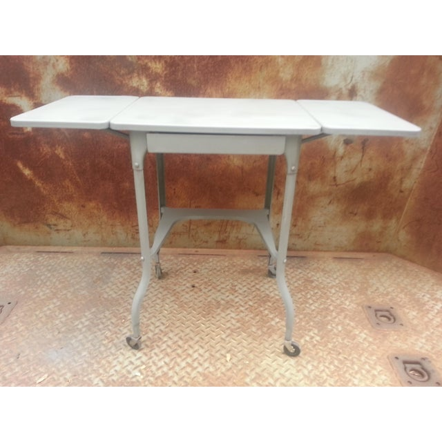 Industrial Drop Leaf Desk & Stool- A Pair For Sale - Image 5 of 8