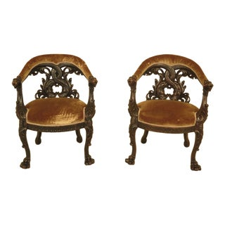 Antique Carved Oak Koi Back Chairs - a Pair For Sale