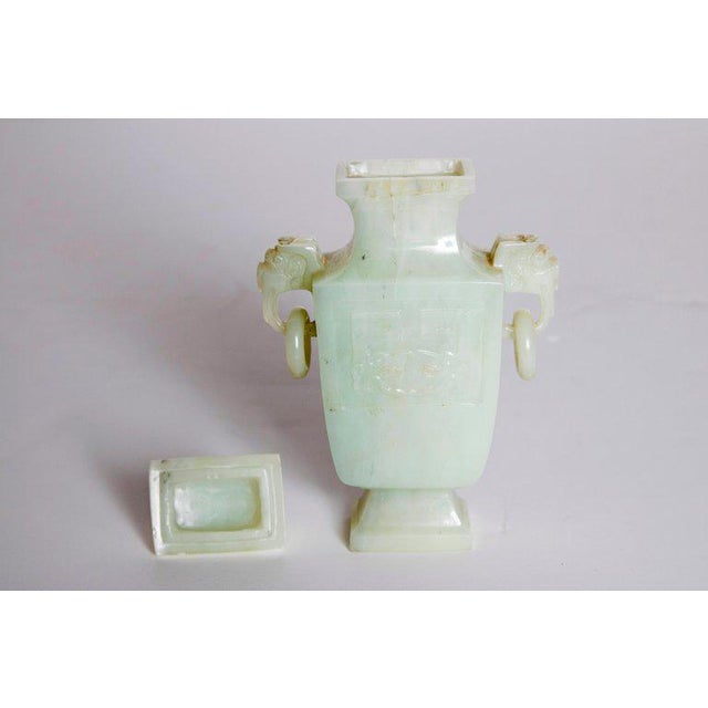 Late 19th / Early 20th Century Pale Celadon Jade Vase & Cover, China, Qing Dynasty For Sale In Dallas - Image 6 of 13