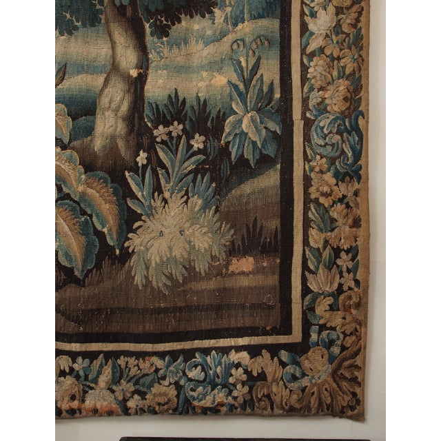 17th Century Verdure Tapestry with a Chateau and Fountain For Sale - Image 5 of 10