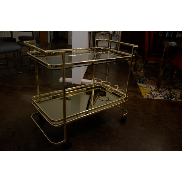 Gold Metal, Glass and Mirror Two-Tier Bar, Tea Cart or Serving Cart - Image 2 of 8