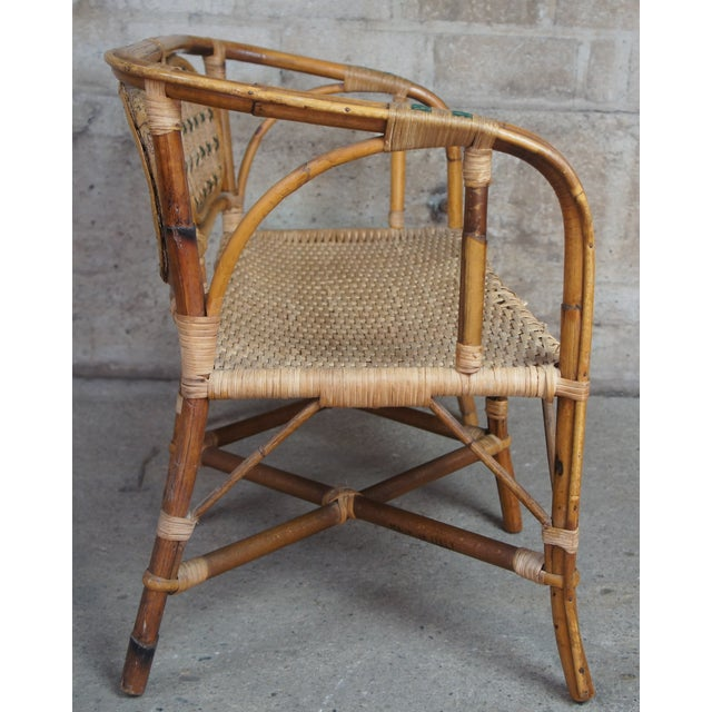 Mid 20th Century Antique Child's Rattan Cained Bamboo Settee For Sale - Image 5 of 11