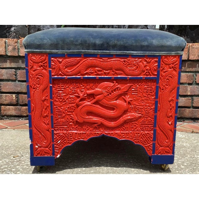 Hollywood Regency Red Lacquered Asian Bench/Ottoman For Sale - Image 3 of 10