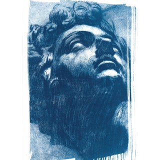 Tintoretto, Head of Giuliano de Medici Drawing, Cyanotype Print on Watercolor Paper For Sale