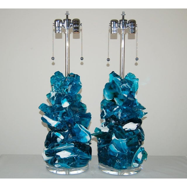 Rock Candy glass table lamps by Swank Lighting! These exquisite crystal cluster lamps in STRIPED TEAL BLUE are made of...
