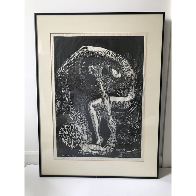 "Vintage Abstract Black and White ""Woman and Man"" Portrait — Original & Signed For Sale - Image 9 of 9"