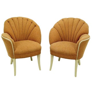 Pair of 1930s Single Arm Art Deco Shell Back Chairs For Sale