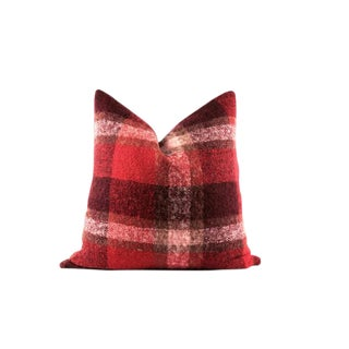 """Red Plaid Mohair Wool Lumbar Pillow 24"""" x 24"""" For Sale"""