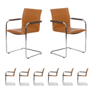 "Set of Eight Modern Leather and Tubular Steel ""Castelli"" Chairs by Haworth For Sale"