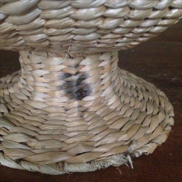 Vintage Natural Straw Pedestal Bowl - Image 5 of 11