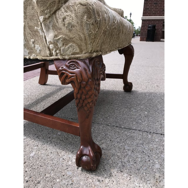 Early 20th Century Early 20th Century Chippendale Style American Eagle Carved Leg Claw & Ball Foot Wingback Chair For Sale - Image 5 of 9