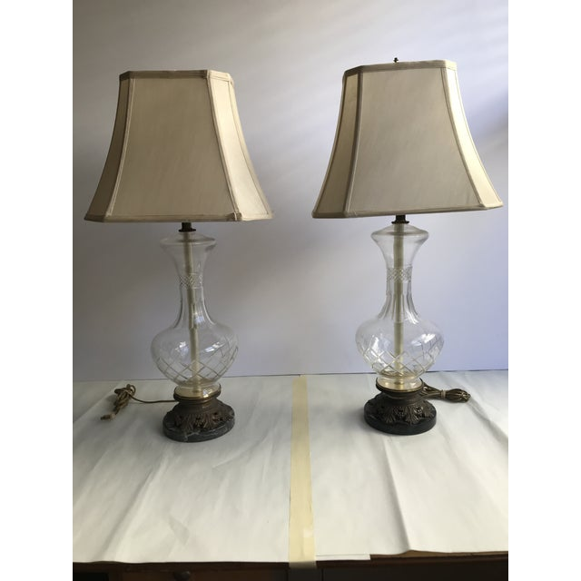 1900s Victorian Glass Table Lamps with Marble and Bronze Base - a Pair For Sale - Image 11 of 11