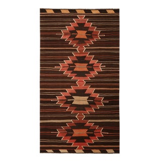 Vintage Mid-Century Mut Beige-Brown and Red Wool Kilim Rug- 5′1″ × 9′1″ For Sale
