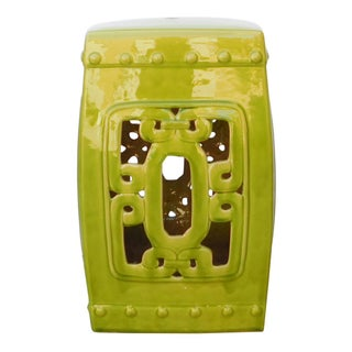 Lime Green Chinese Oriental Square Ceramic Stool For Sale