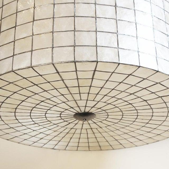 "Contemporary Capiz Drum Lantern 35"" For Sale - Image 3 of 4"