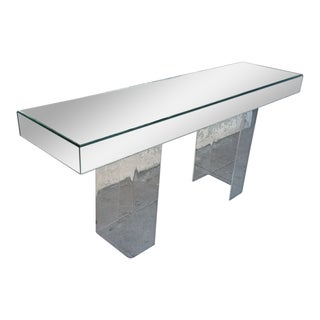 Vintage Mirrored Console With Lucite Legs