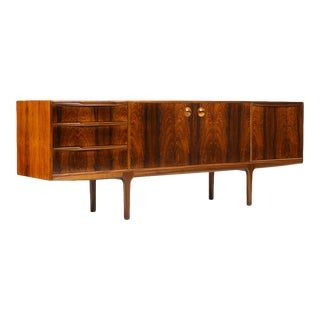 Danish Modern / Mid Century Rosewood Credenza / Sideboard — a.h. McIntosh — Sculpted Pulls For Sale