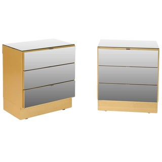 Modern Style Three-Drawer Mirrored Chests - A Pair For Sale