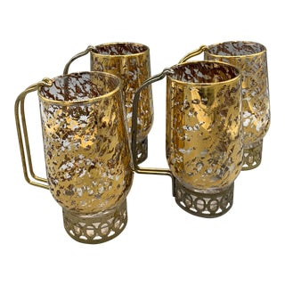 1950s Vintage Libbey Glass Co. Gold Speckled Glasses - Set of 4 For Sale