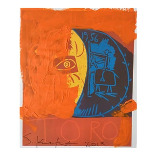 """""""Orange Toro"""" Framed Picasso Poster Painting by Sean Kratzert For Sale"""
