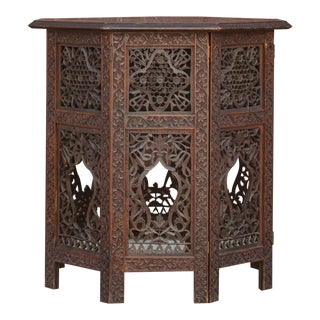 19th Century Carved Anglo Indian Tea Table For Sale