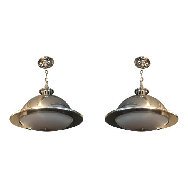 Remains Lighting Brooklyn Ny Stainless Orson Pendant Lights - a Pair For Sale