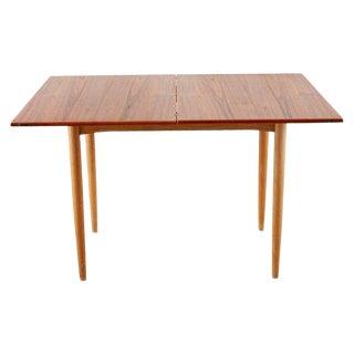 Scandinavian Modern Teak Flip-Top Dining Game Table For Sale