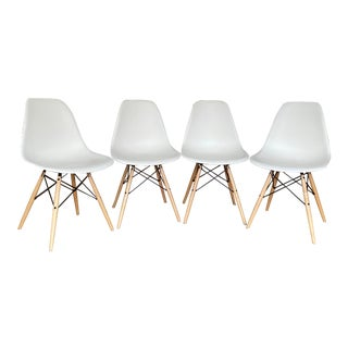 Eames Molded Plastic Dowel-Leg Side Chairs - Set of 4 For Sale