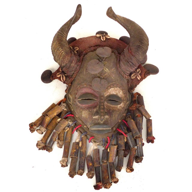 African Bamileke Tribal Mask From Cameroon W/Horns For Sale - Image 9 of 9