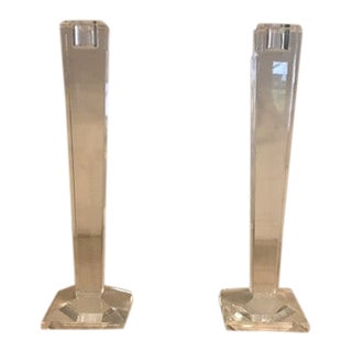 Oleg Cassini Crystal Candle Sticks - a Pair For Sale