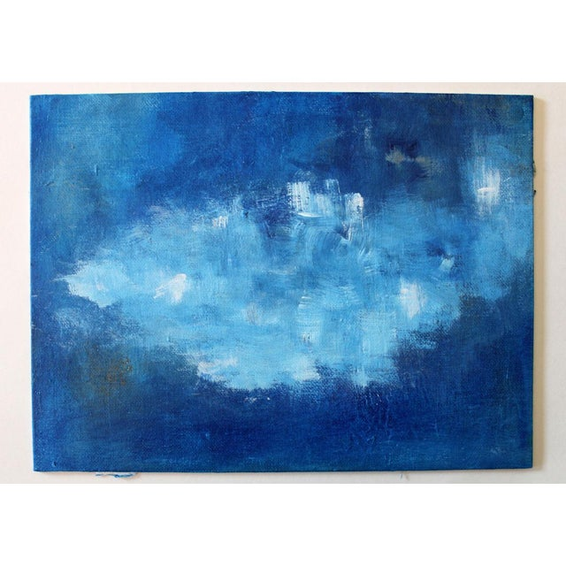 Modern Abstract Blue & White Painting - Image 3 of 4