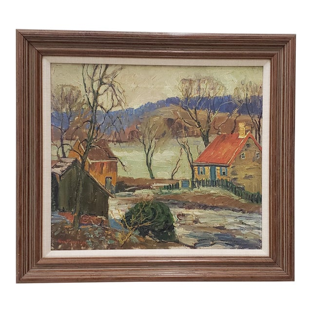 """Fern Coppedge (American, 1883-1951) """"Winter - New Hope"""" Original Oil Painting C.1920 For Sale"""