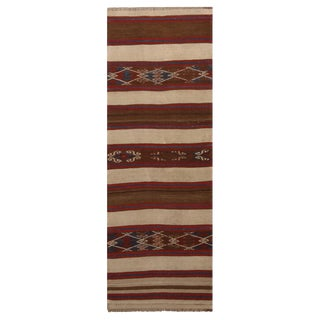 Vintage Fatiye Beige Brown Wool Kilim Rug-2'4'x6'8' For Sale