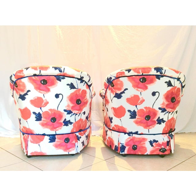 Boho Chic 1990s Vintage Kate Spade Poppies Printed Fabric Swivel Chairs- A Pair For Sale - Image 3 of 10