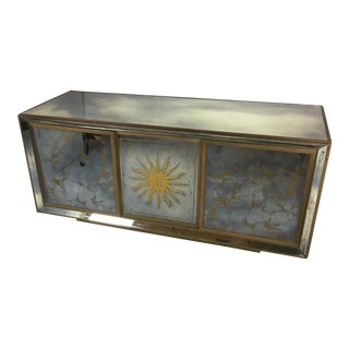 Antique Golden Sun Mirrored Cabinet For Sale
