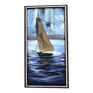 Mid-Century Modern Original Oil Painting Seascape Sailboat Abstract For Sale
