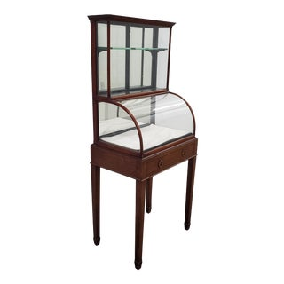Mid 19th Century Mahogany Framed Display Cabinet W/ Drawer & Removable Tray For Sale